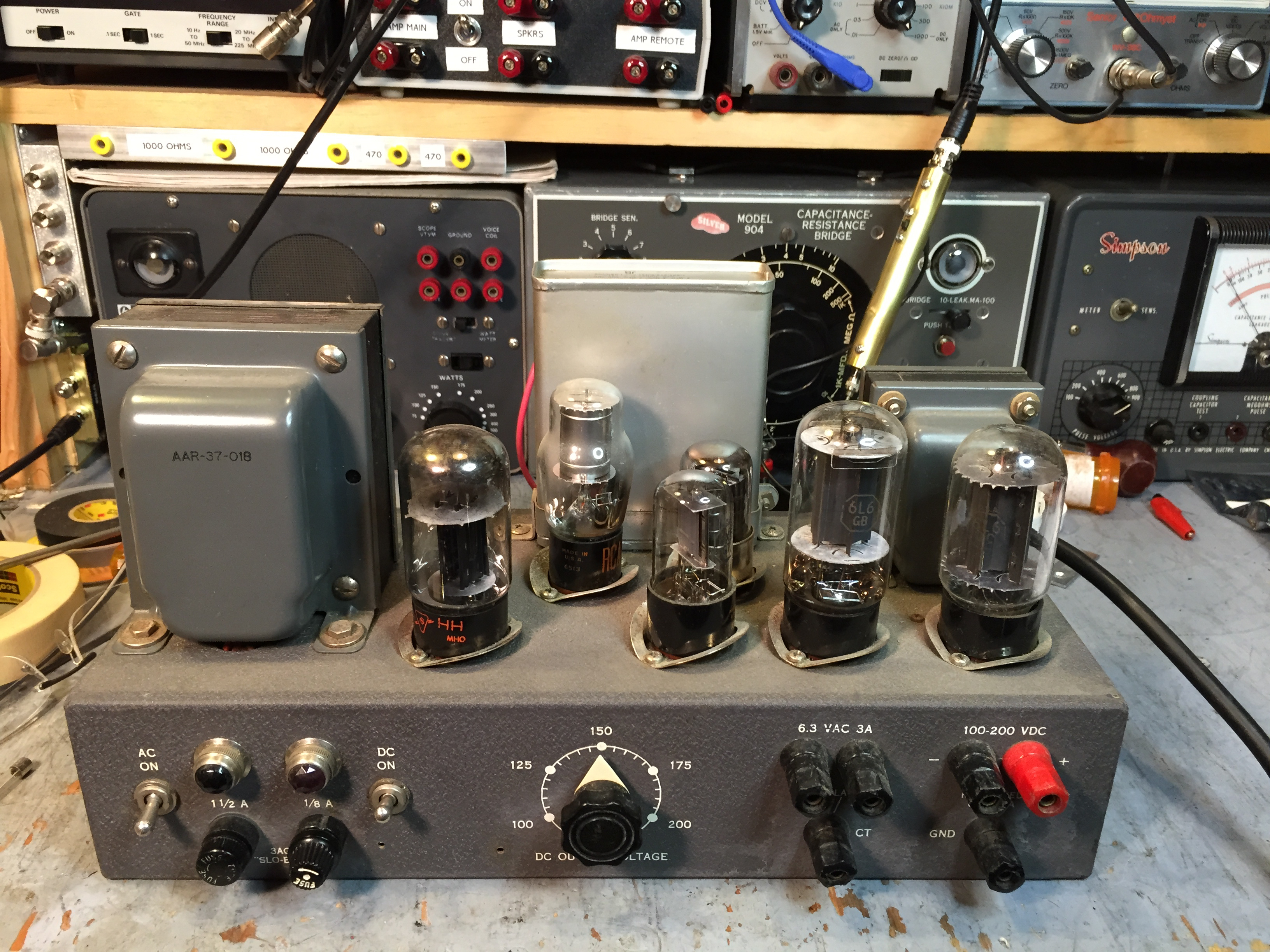 Lambda 26 High Voltage Power Supply Steves Web Junkyard Steve Byan Voltagecontrolledstatevariablefilter Powersupplycircuit Its A Nice Vacuum Tube With Outputs Of 63 Volts Ac For Filaments And Adjustable From 100 To 200 Dc At Up Ma